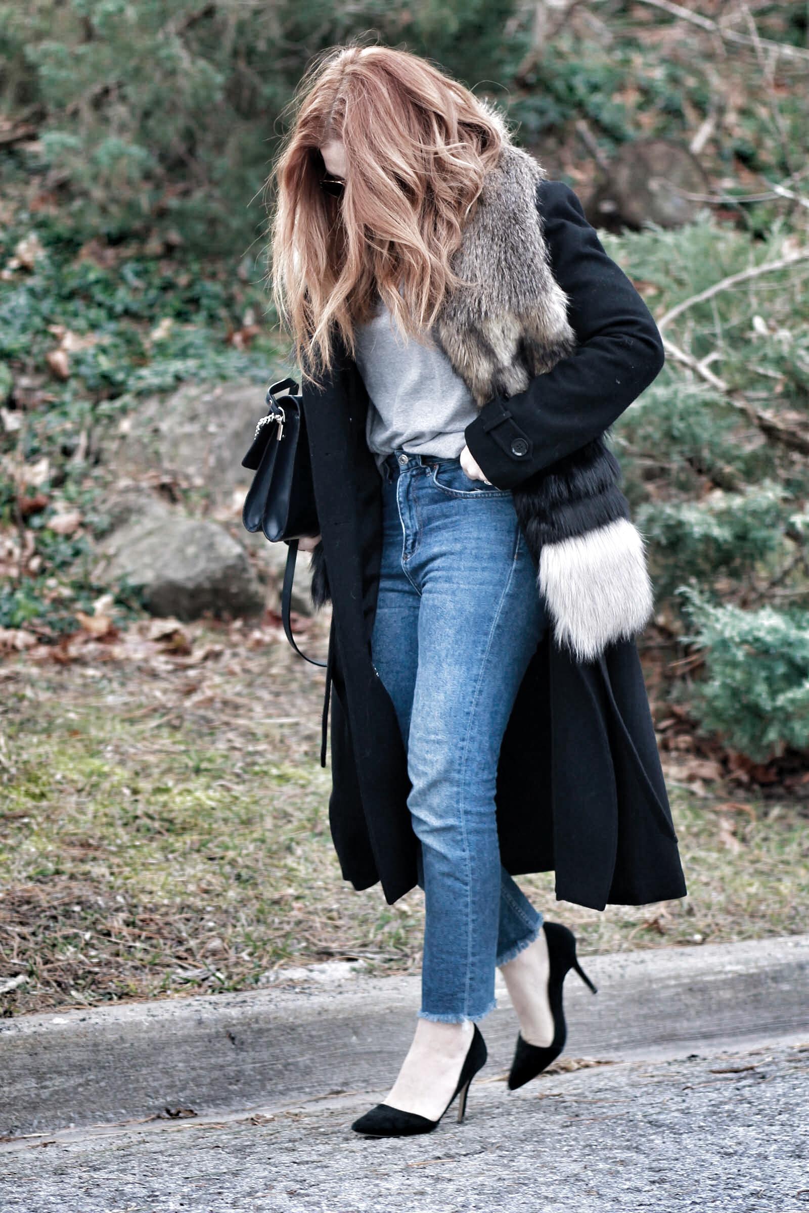 Basics + fur scarf + Minimalism