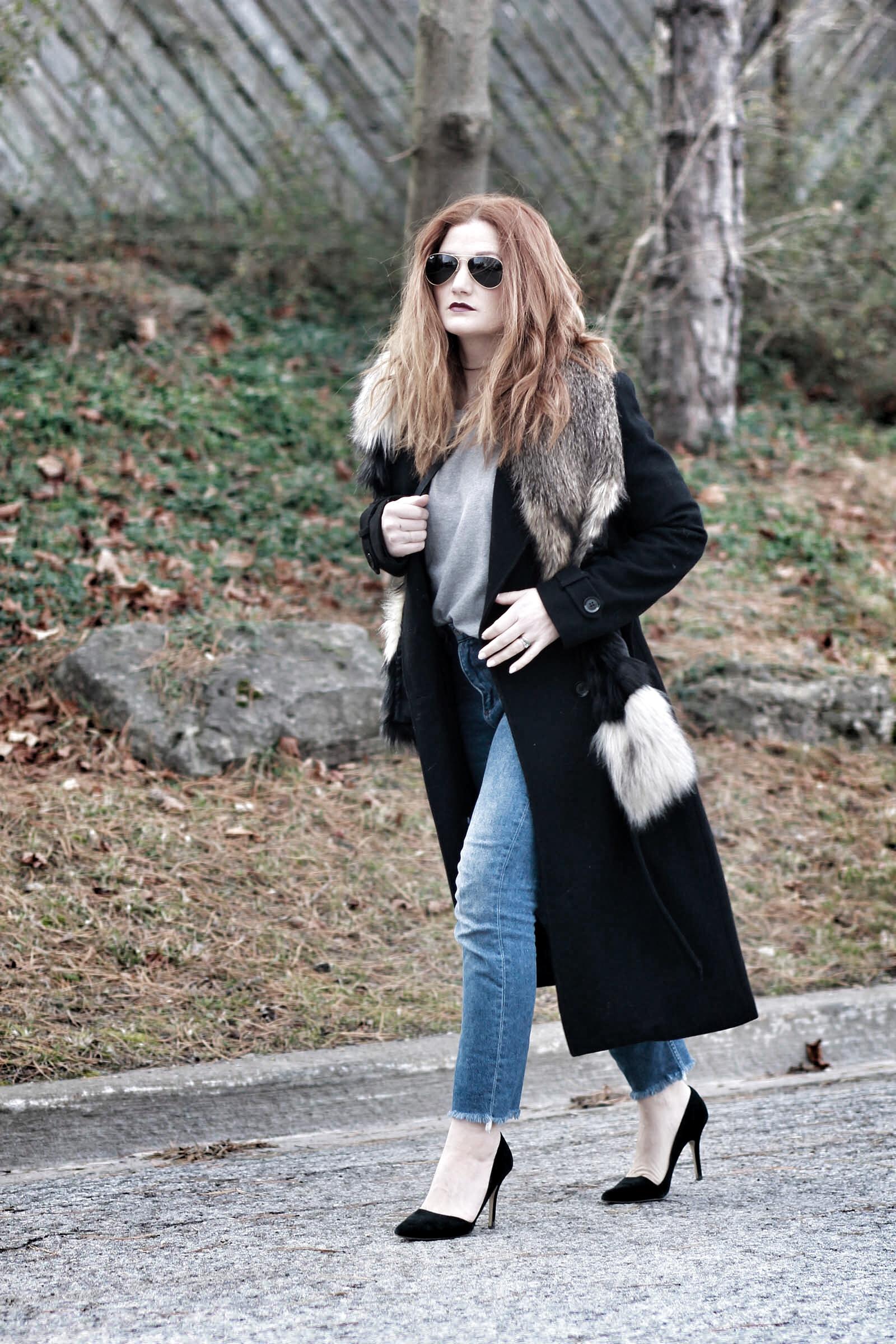 Wardrobe basics + fur scarf
