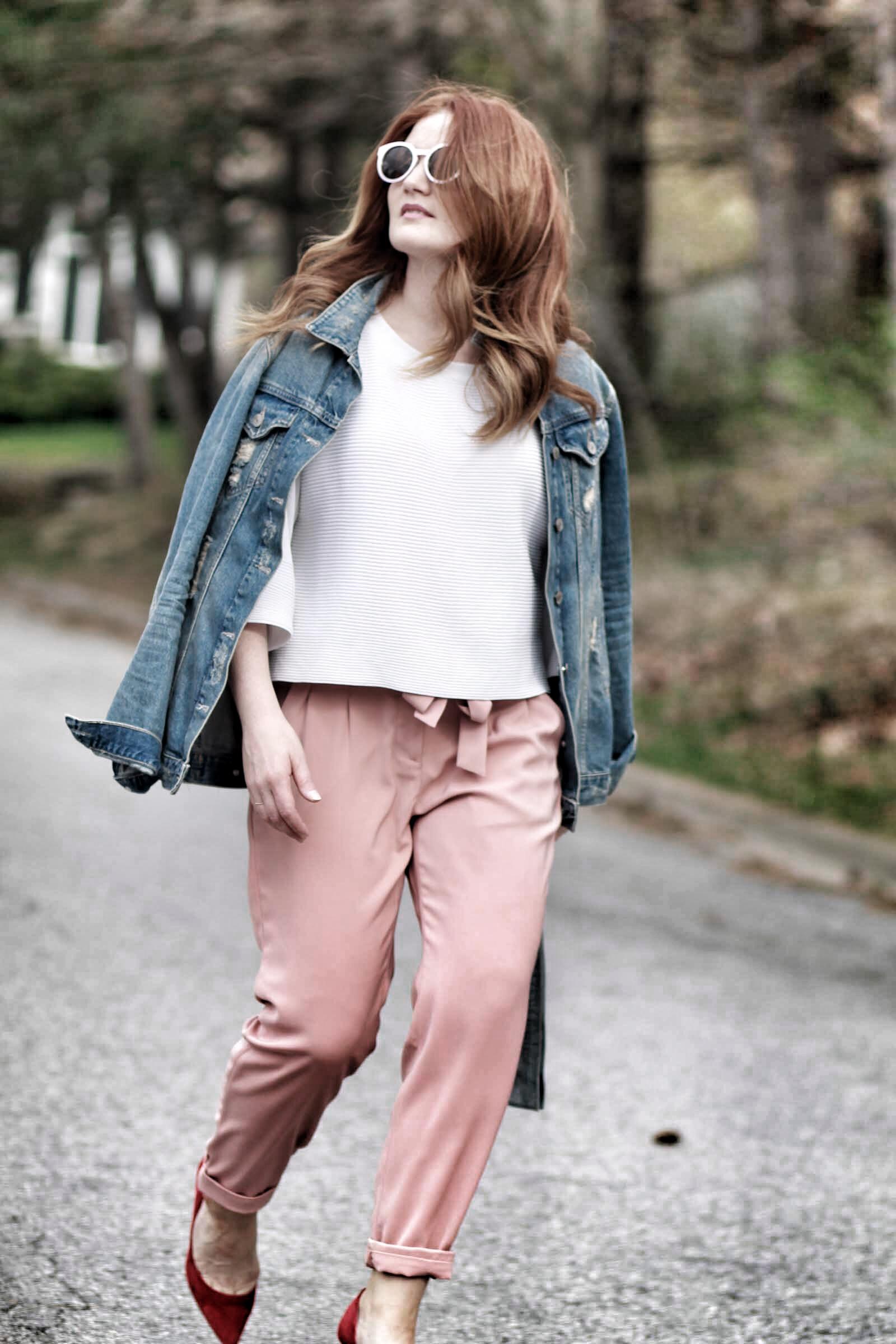 Pink paper bag-waist pants