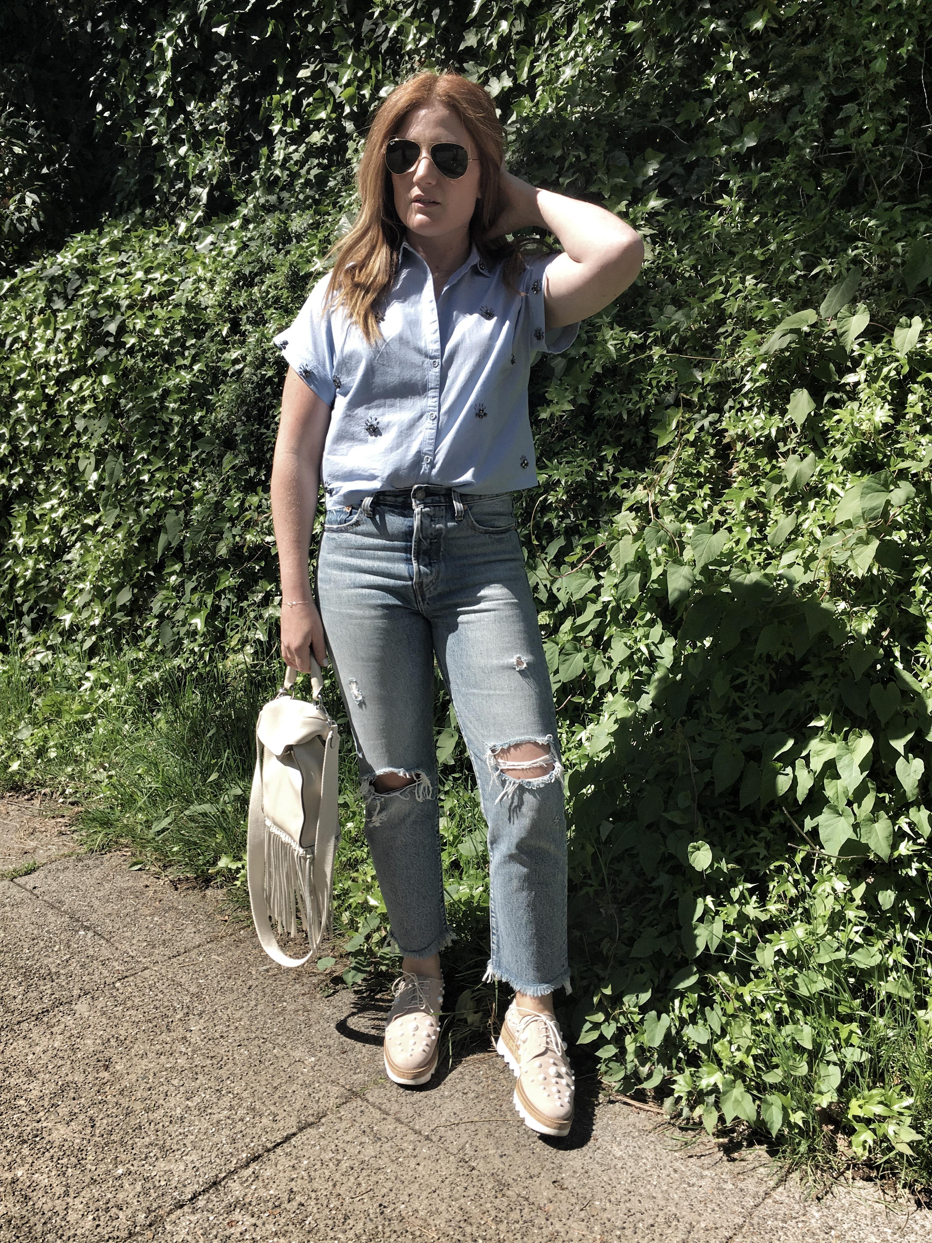 Capsule wardrobe- jeans, bejewelled blouse
