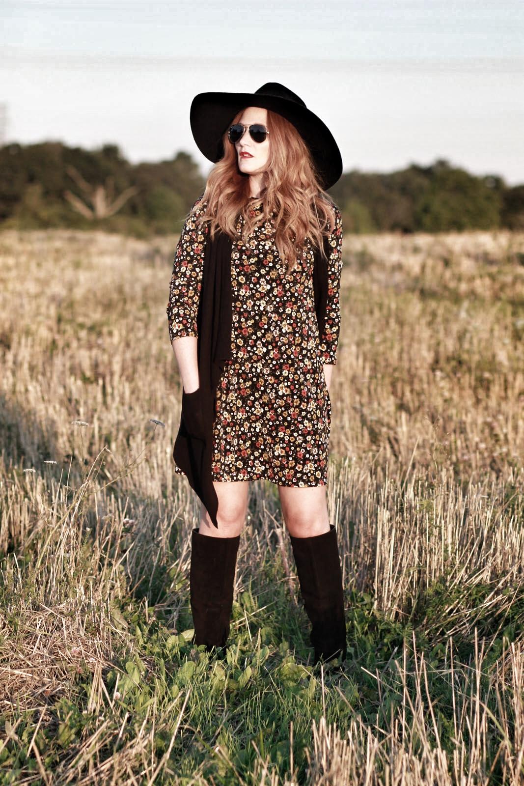 Fall florals, fall fashion, floral dress