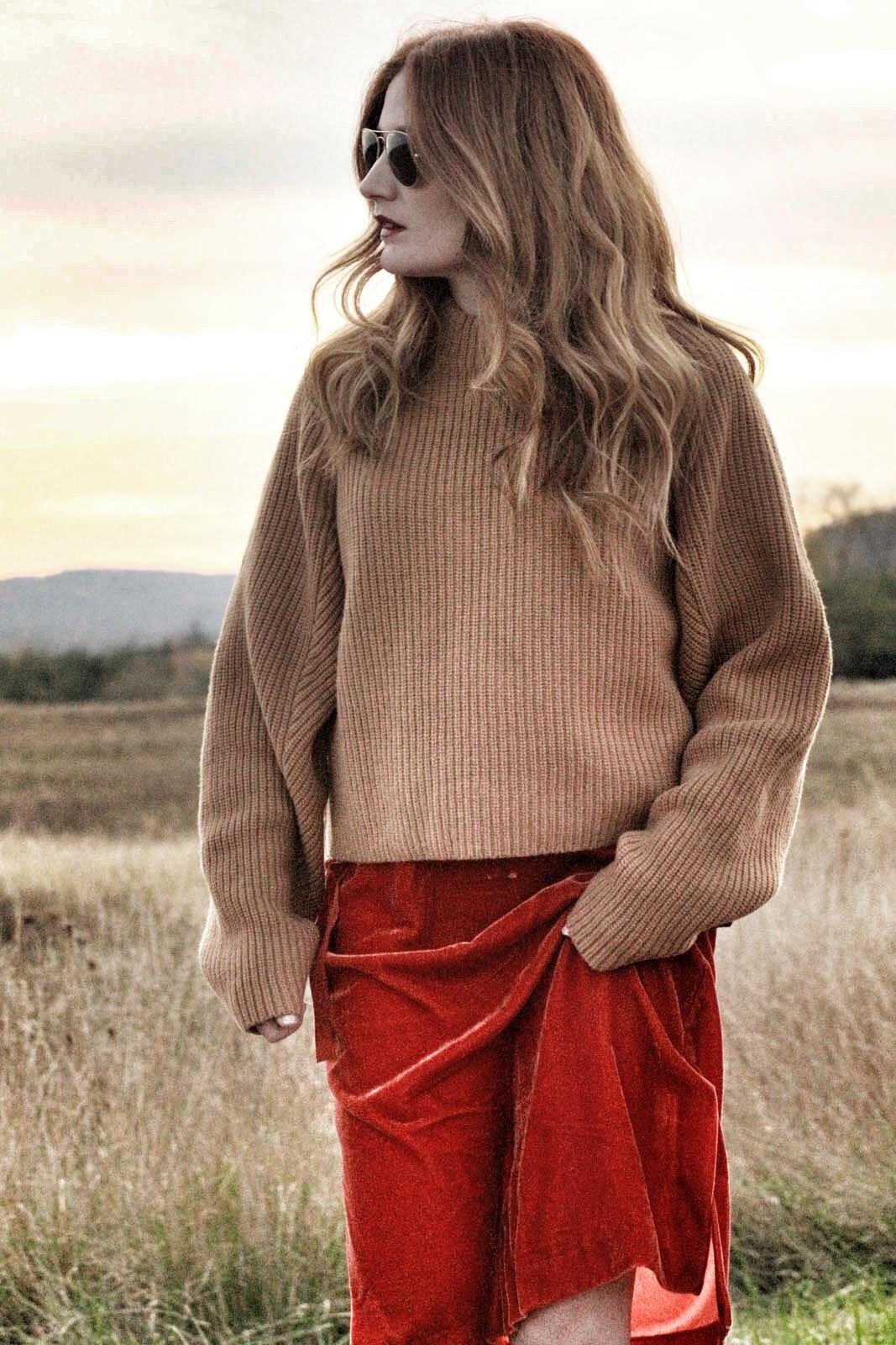 Chunky knit + velvet skirt