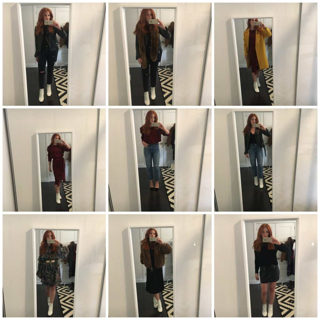 woman trying on outfits in front of a mirror